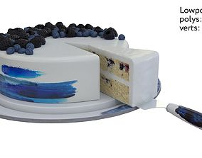 Cake with barries 3D model