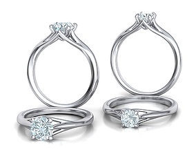 Solitaire Engagement ring Collection Half Carat 3D model 3