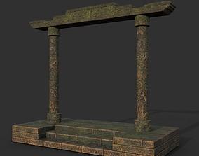 Low poly Ancient Dragon Temple Element 18 - 3D asset