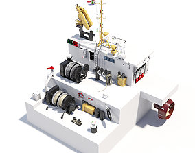 3D model Tugboat and civil ships equipment asset