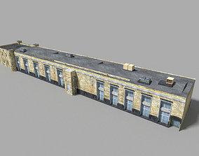 low poly prison building 3 3D model