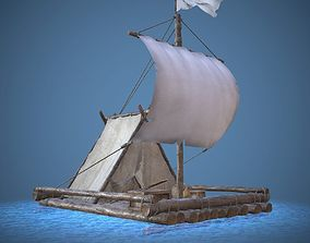 3D model game-ready Raft Low Poly