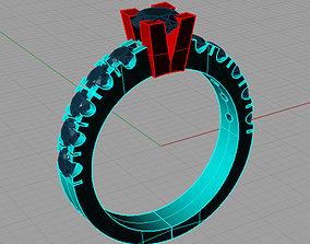 Solitaire Round diamond Anello 3D printable model 2