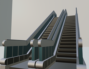 DUAL Escalator 3D model for game developing and