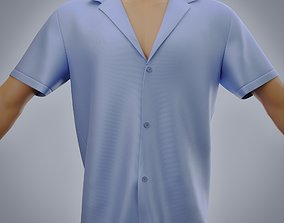 Blue Male Silk Shirt 3D model