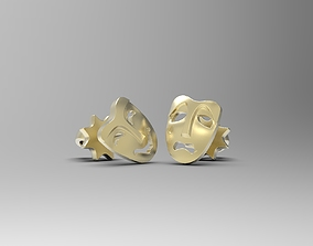3D print model Comedy and Tragedy masks stud earrings