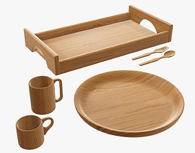 3D wooden flatware tableware dinnerware set