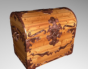 Old wood chest 3D model old