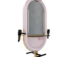 Hairdresser Table mirror pink gold 3D