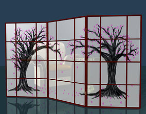 Folding screen rigged low poly 3D asset
