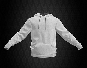 3D asset White Sweatshirt with Hoodie
