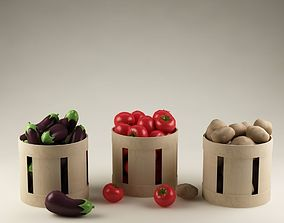 3D model Baskets with vegetables 02 eggplants tomatoes