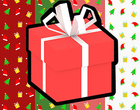 Low Poly Gift Box and 4 Gift Wrap Textures 3D model