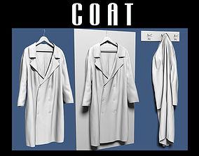 Coat on hanger and coat rack 3D model
