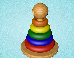 3D Wooden Color and size Toy