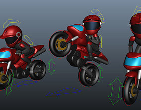 Rider with Motorbike Full Rigged 3D model realtime