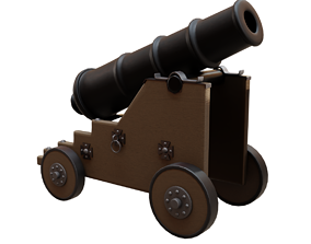 Old Naval Cannon War Low-poly 3D model game-ready