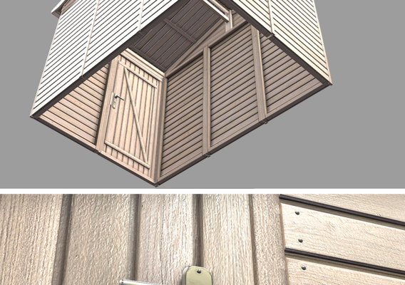 Wooden Garden Shed High-Poly