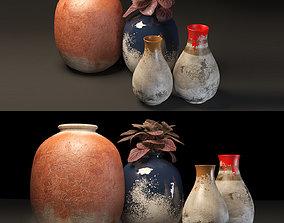 rustic pot set 3D model