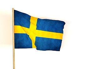 3D 4d Flag of Sweden