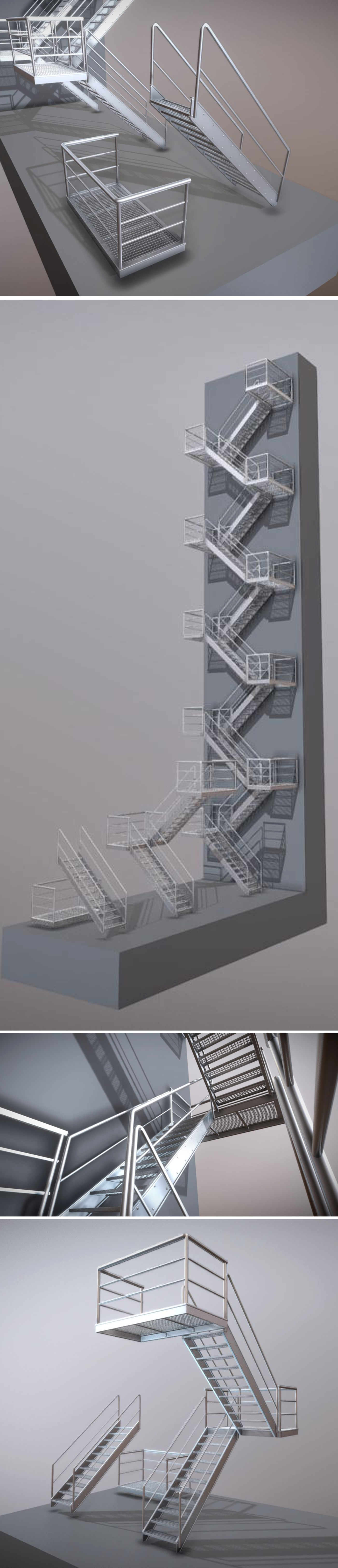 Modular Industrial Staircase High-Poly Version