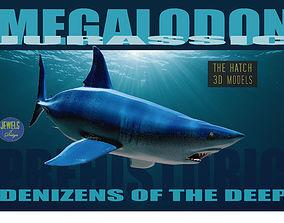 Megalodon 3D model game-ready