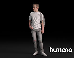 3D Humano Casual Child Standing and looking back 0411