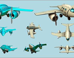 Fat Seagull cartoony stylized plane - 2 texture 3D asset