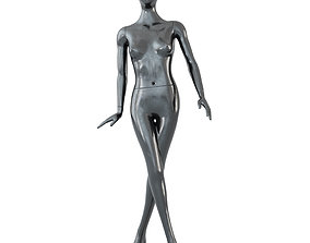 3D model Female black mannequin in a standing pose 61