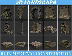 3D model Low poly Dry Mossy Ruin Construction Pack -