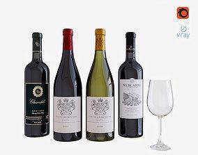 3D model bar wine bottle set 2