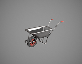 3D asset realtime Metal - Red Wheelbarrow