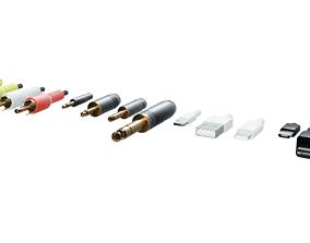 Low Poly IO Cable Connectors Jacks 3D asset VR / AR ready