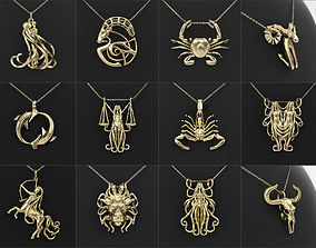 12 Zodiac Pendants Collection 3D print model