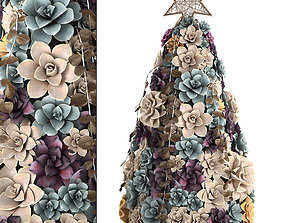 New Year tree made of succulents 421 3D