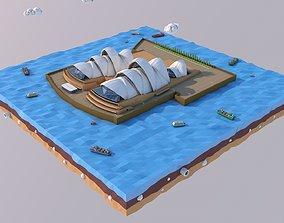 3D model realtime Low Poly Sydney Opera House Landmark