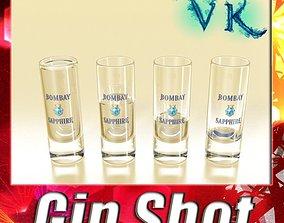 3D Realistic Gin Shot Glass