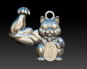 maneki neko beckoning funny cat pendant 3d