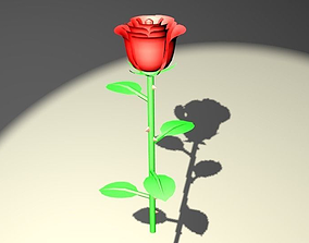 3D asset game-ready Red rose