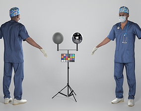 3D asset Surgical doctor in sterile mask and gloves in 1