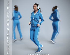3D model Sports woman warm-up