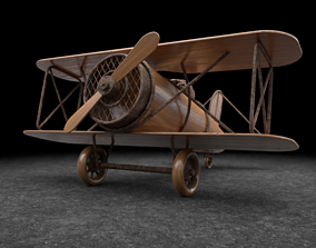 3D asset Wooden Biplane Toy