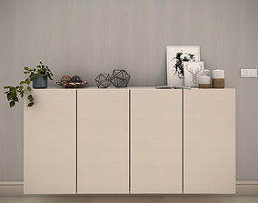 White modern cabinet composition - Include decorative 3D