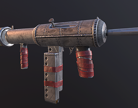 game-ready Hand Made Submachine Gun Low-poly 3D model 1