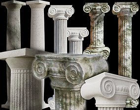 Columns set Clean and old mossy versions 3D model