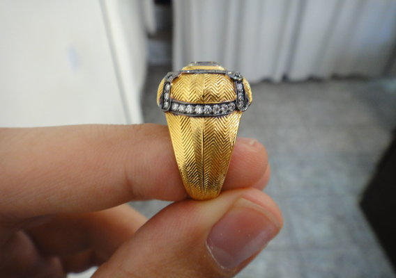 2.76ct Cushion Yellow Diamond Ring