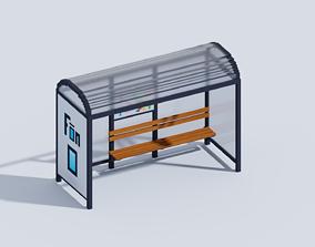 3D asset VOXEL BUS STOP