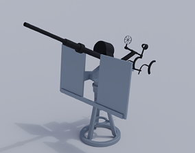3D rigged 20mm Anti-Aircraft Gun