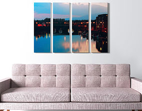 3D model Printed Canvas - City with River