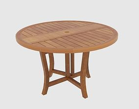Round Wooden Round Folding Table 3D model